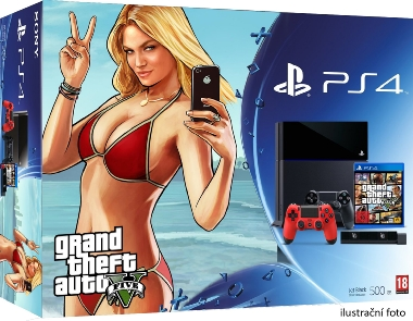 SONY PlayStation 4 - 1TB slim Black CUH-2116B + GTA V + camera + 2x Dualshock
