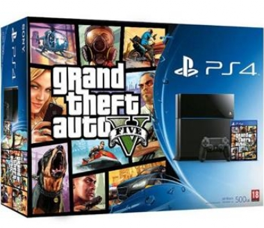 SONY PlayStation 4 - 500GB Slim Black CUH-2116A + GTA V