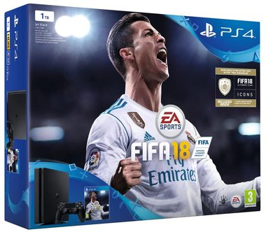 SONY PlayStation 4 - 1TB slim Black CUH-2116B + FIFA 18 + PS Plus 14 dní