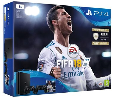 SONY PlayStation 4 - 1TB slim Black CUH-2116B + FIFA 18 + 2x Dualshock 4 + PS Plus 14 dní