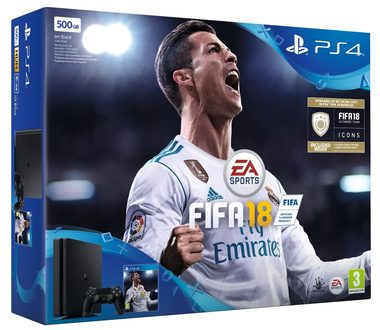 SONY PlayStation 4 - 500GB Slim Black CUH-2116A + FIFA 18