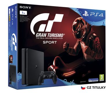 SONY PlayStation 4 - 1TB slim Black CUH-2116B + Gran Turismo Sport + PS Plus 14 dní
