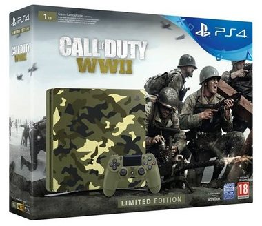 SONY PlayStation 4 - 1TB slim kamufláž CUH-2116B + Call of Duty WW II + That's You
